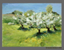 Early Green With Blossoms, en plein air, pastel on Wallis